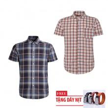 Bộ 2 áo sơ mi ngắn tay sọc caro thời trang tặng kèm 1 dây nịt SMC2943