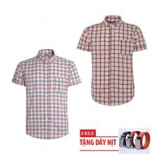 Bộ 2 áo sơ mi ngắn tay sọc caro thời trang tặng kèm 1 dây nịt SMC2950