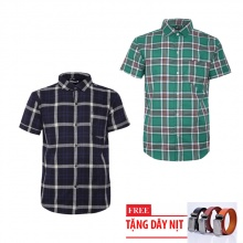 Bộ 2 áo sơ mi ngắn tay sọc caro thời trang tặng kèm 1 dây nịt SMC3533
