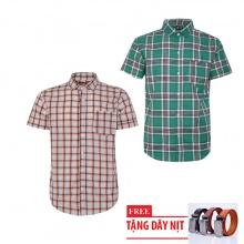 Bộ 2 áo sơ mi ngắn tay sọc caro thời trang tặng kèm 1 dây nịt SMC2972 .