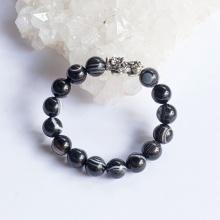 Vòng tay phong thủy đá mã não mắt rồng phối tỳ hưu bạc 10mm mệnh thủy, thổ - Ngọc Quý Gemstones