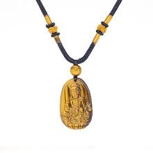 Mặt dây chuyền Phật Bản Mệnh Văn Thù Bồ Tát đá mắt hổ vàng nâu tuổi Mão - Ngọc Quý Gemstones