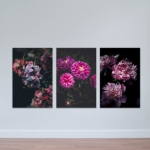 """Bộ 3 tranh trang trí """"Hoa tím ma mị"""" - tranh treo tường hoa lá W3416"""