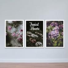 """Bộ 3 tranh trang trí """"Hoa miền nhiệt đới"""" - tranh treo tường hoa lá W3420"""
