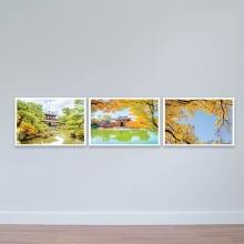"""Bộ 3 tranh chủ đề Nhật Bản """"Mùa thu bên hồ"""" - tranh treo phòng họp W3157"""