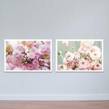 """Bộ 2 tranh treo tường """"Sắc hồng"""" - tranh trang trí hoa lá W3428"""