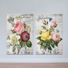 """Bộ 2 tranh treo tường """"Hoa valentine"""" - tranh trang trí hoa lá W3429"""