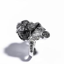 Nhẫn bạc tỳ hưu thạch anh tóc đen R-BRQT01 Vietgemstones