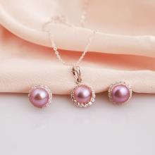 Opal -  bộ trang sức bạc đính ngọc trai tím viền đá Ross_T07