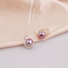 Opal - bộ trang sức bạc đính ngọc trai tím 2 món_T07