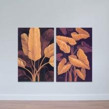 """Bộ 2 tranh treo tường """"Tàu lá"""" - tranh trang trí hoa lá W3431"""