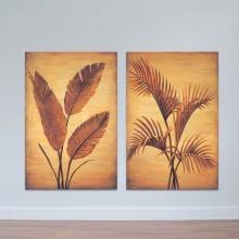 """Bộ 2 tranh treo tường """"Lá dừa"""" - tranh trang trí hoa lá W3433"""