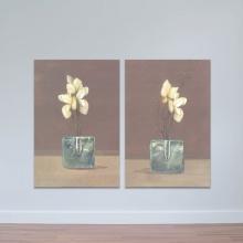 """Bộ 2 tranh treo tường """"Lọ hoa nhỏ"""" - tranh trang trí hoa lá W3436"""
