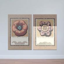 """Bộ 2 tranh treo tường """"Hoa cách điệu"""" - tranh trang trí hoa lá W3437"""