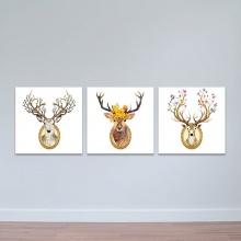 Bộ 3 tranh treo tường phòng khách chủ đề loài hươu đẹp - tranh hươu nai W3535
