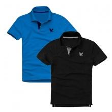 Áo thun nam cổ bẻ vải cá sấu cao cấp, combo 2 (xanh dương, đen)