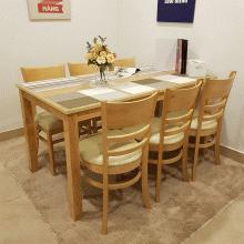 Bộ bàn ăn 6 ghế Cabin gỗ cao su 1m6 (màu tự nhiên) - Cozino