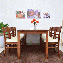 Bộ bàn ăn 6 ghế Cabin gỗ cao su 1m6 (màu walnut) - Cozino