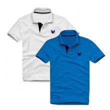 Áo thun nam cổ bẻ vải cá sấu cao cấp, combo 2 áo logo thêu rất sắc xảo (trắng, xanh dương)