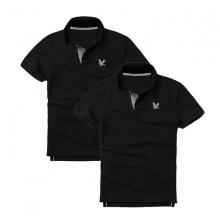 Áo thun nam cổ bẻ vải cá sấu cao cấp, combo 2 áo logo thêu rất sắc xảo (2 áo đen)