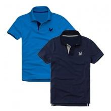 Áo thun nam cổ bẻ vải cá sấu cao cấp, combo 2 áo logo thêu rất sắc xảo (xanh dương, xanh đen)