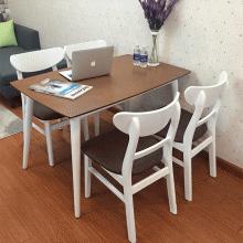 Bộ bàn ăn 4 ghế mặt nệm Mango màu trắng - Cozino