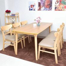 Bộ bàn ăn 6 ghế mặt nệm Mango màu tự nhiên - Cozino