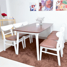 Bộ bàn ăn 6 ghế mặt nệm Mango màu trắng - Cozino
