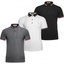 Bộ 3 áo thun nam Polo cổ phối logo Pigofashion AHT09 đen, trắng, xám