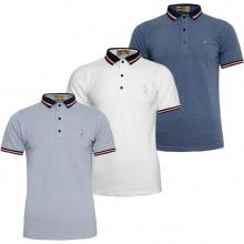 Bộ 3 áo thun nam Polo cổ phối logo Pigofashion AHT09 xanh môn, trắng, xanh vịt