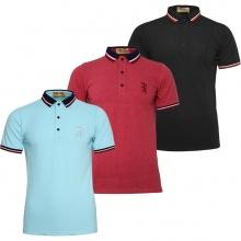 Bộ 3 áo thun nam Polo cổ phối logo Pigofashion AHT09 biển, đỏ, đen