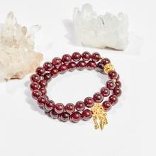 Vòng chuỗi hạt đeo tay 2 line đá garnet 8mm mệnh hỏa, thổ - Ngọc Quý Gemstones