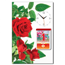 Tranh đồng hồ tictac - hoa hồng đỏ