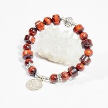 Vòng tay phong thủy đá mắt hổ nâu đỏ charm hoa tròn 12mm mệnh hỏa, thổ - Ngọc Quý Gemstones