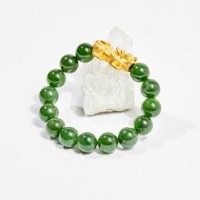 Vòng tay phong thủy đá ngọc bích charm tỳ hưu vàng 24k 10mm mệnh hỏa, mộc - Ngọc Quý Gemstones