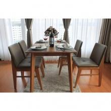 Bộ bàn ăn 4 ghế Kudo gỗ cao su màu walnut - Cozino