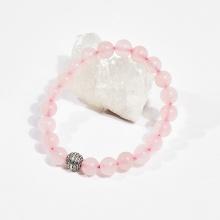 Vòng tay phong thủy nữ đá thạch anh hồng charm cát tường 8mm mệnh hỏa , mộc - Ngọc Quý Gemstones