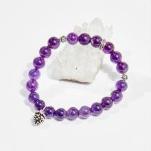 Vòng tay phong thủy nữ đá thạch anh tím charm trái thông 8mm mệnh hỏa, mộc - Ngọc Quý Gemstones