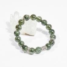 Vòng tay phong thủy đá thạch anh tóc xanh charm hoa hồng 10mm mệnh hỏa, mộc - Ngọc Quý Gemstones
