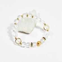 Vòng tay phong thủy nữ đá thạch anh trắng phối charm 8mm mệnh thủy, kim - Ngọc Quý Gemstones