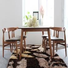 Bộ bàn ăn 4 ghế Lunar màu walnut - Cozino