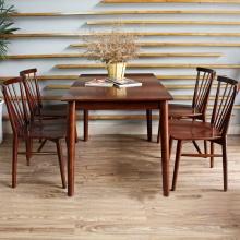 Bộ bàn ăn 6 ghế Requin gỗ cao su màu walnut - Cozino