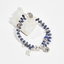 Vòng chuỗi hạt đeo tay 2 line nữ đá saphire charm may mắn 5mm mệnh thủy, mộc - Ngọc Quý Gemstones