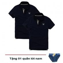 Áo thun nam cổ bẻ vải cá sấu cao cấp, combo 2 áo logo thêu rất sắc xảo (2 áo xanh đen, tặng 1 quần lót nam)