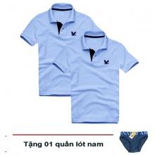 Áo thun nam cổ bẻ vải cá sấu cao cấp, combo 2 áo logo thêu rất sắc xảo (2 áo xanh môn, tặng 1 quần lót nam)