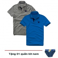 Áo thun nam cổ bẻ vải cá sấu cao cấp, combo 2 áo logo thêu rất sắc xảo (xám đậm, xanh dương, tặng 1 quần lót nam)