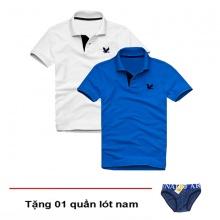Áo thun nam cổ bẻ vải cá sấu cao cấp, combo 2 áo logo thêu rất sắc xảo (trắng, xanh dương, tặng 1 quần lót nam)