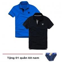 Áo thun nam cổ bẻ vải cá sấu cao cấp, combo 2 áo logo thêu rất sắc xảo (xanh dương, xanh đen, tặng 1 quần lót nam)