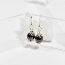 Bông tai đá obsidian hạt 10mm mệnh thủy, mộc - Ngọc Quý Gemstones