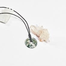 Dây chuyền phong thủy đá băng ngọc thủy tảo mặt đồng điếu 3.3cm mệnh hỏa, mộc, thổ - Ngọc Quý Gemstones